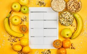 Картинка яблоки, бананы, фрукты, орехи, календарь, лимоны, хурма, овсянка