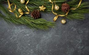 Картинка украшения, шары, Новый Год, Рождество, Christmas, balls, wood, New Year, decoration, Merry, fir tree, ветки ...