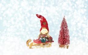 Картинка праздник, елка, Новый год, гном, санки