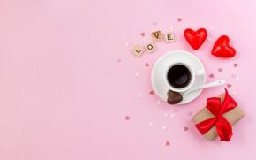 Картинка подарок, кофе, чашка, сердечки, день святого валентина