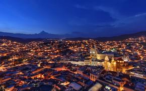 Картинка город, огни, вечер, Mexico, Guanajuato, Мекксика