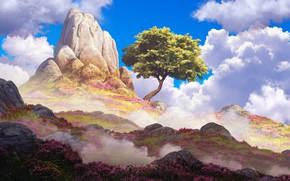 Картинка Дерево, Рисунок, Гора, Скала, Пейзаж, Арт, Environments, Arcipello, Daniel Conway, by Daniel Conway, by Arcipello, …