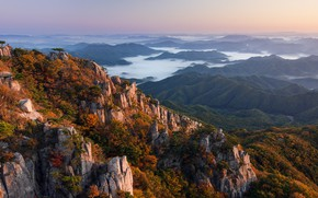 Картинка forest, landscape, South Korea, rocks, fog, hills, Daejeon, Nathaniel Merz, valleys