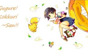 Картинка девочка, листики, зеленые глаза, чёлка, демон-лис, ёкай, палочки для еды, рамен, Inugami, Gugure! Kokkuri-san!, by …