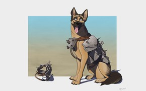 Картинка Минимализм, Собака, Овчарка, Fallout, Арт, Shepherd, Пес, Немецкая овчарка