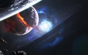 Картинка Звезды, Планета, Космос, Туманность, Звезда, Взрыв, Свет, Планеты, Осколки, Light, Planets, Star, Арт, Stars, Space, …