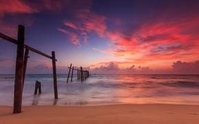 Картинка песок, море, волны, пляж, лето, закат, summer, beach, sea, sunset, pink, seascape, beautiful, sand, wave, …