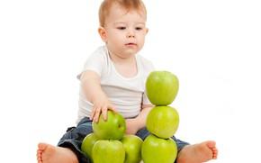Картинка яблоки, мальчик, белый фон