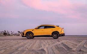 Картинка пляж, закат, вечер, Lamborghini, вид сбоку, Vorsteiner, кроссовер, Urus, 2019