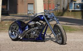 Картинка Harley Davidson, Harley-Davidson, Custom, Motorcycle, Thunderbike, By Thunderbike, Blue Flames