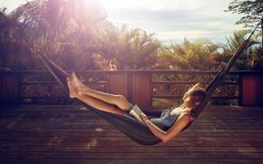 Картинка woman, book, reading, hammock, rest