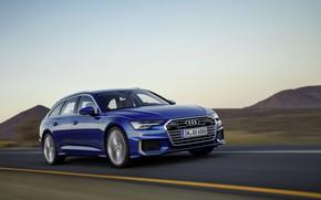 Картинка дорога, синий, Audi, 2018, универсал, A6 Avant