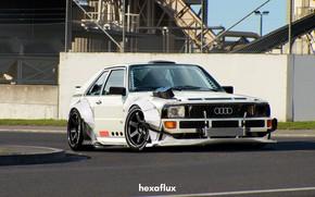 Картинка Audi, Белый, Машина, Тюнинг, Car, Render, Quattro, Рендеринг, Спорткар, Белый цвет, Audi Quattro, Transport & …