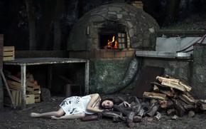 Картинка девушка, дрова, печь