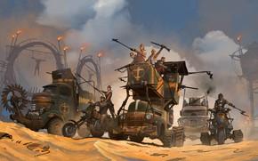Картинка люди, огонь, транспорт, пустыня, Dark Republic