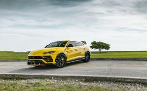 Картинка Lamborghini, Clouds, Sky, Yellow, Urus, VAG