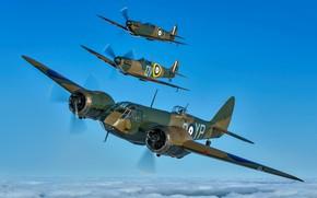 Картинка RAF, Spitfire, Bristol Blenheim, Вторая Мировая Война, Bristol Blenheim Mk.I, Легкий бомбардировщик, Истребитель, Звено, Supermarine …