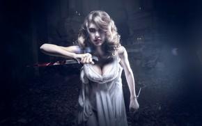 Картинка девушка, кровь, нож
