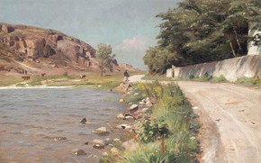 Обои 1918, Леди прогуляющаяся по озеру Хаммерсо, A lady taking a stroll by a lake Hammersø, ...