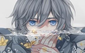 Картинка взгляд, вода, парень