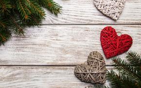 Картинка украшения, сердце, Новый Год, Рождество, love, christmas, wood, hearts, merry, decoration, fir tree, ветки ели