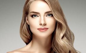 Обои девушка, лицо, портрет, макияж, прическа, woman, локоны, hair, фотомодель