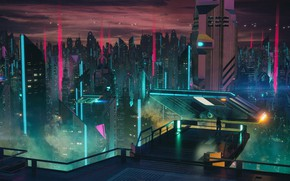 Картинка Музыка, Город, Небоскребы, Фантастика, Cyber, Cyberpunk, Synth, Retrowave, Synthwave, New Retro Wave, Futuresynth, Синтвейв, Ретровейв, …