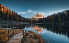 Обои иней, осень, пейзаж, горы, природа, озеро, Альпы, Италия, мостик, леса, заморозки, доломиты, Valentin Valkov