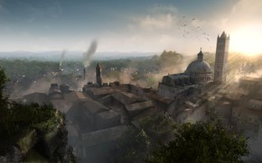 Картинка деревья, город, дым, здания, Chronicles of Elyria