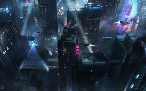 Картинка Ночь, Город, Будущее, Неон, Здания, City, Архитектура, Арт, Art, Night, Фантастика, Neon, Concept Art, Транспорт, …