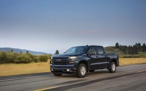 Картинка дорога, асфальт, Chevrolet, пикап, Silverado, тёмно-синий, 2019, RST
