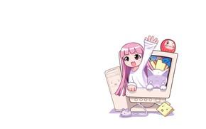 Картинка компьютер, девочка, белый фон, розовые волосы, приветствие, белый кот, руки вверх, мышка компьютерная, дарума