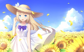Картинка лето, девушка, цветы, шляпа