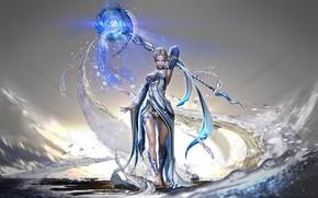 Картинка light, girl, fantasy, dress, legs, breast, water, barefoot, Magic, digital art, artwork, fantasy art, chest, …