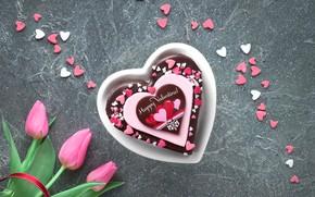 Картинка сердце, букет, сердечки, тортик, День Святого Валентина, Anya Ivanova