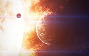 Картинка Солнце, Огонь, Планета, Космос, Звезда, Пламя, Жара, Fire, Star, Арт, Конец, Space, Art, Flame, Planet, …