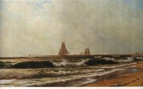 Картинка BRICHER, THE SHORE, SAILBOATS ALONG