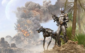 Картинка взрыв, робот, андроид, охотник, The hunter