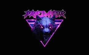 Картинка Стиль, Пасть, Фон, Волк, Морда, Predator, Style, Neon, Wolf, Illustration, Synth, Retrowave, Synthwave, New Retro …