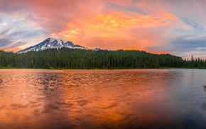 Картинка лес, закат, горы, панорама, водоем