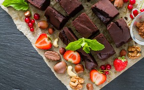 Картинка ягоды, шоколад, пирог, орехи, брауни