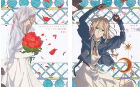 Картинка невеста, фата, свадебное платье, букет роз, алые розы, violet evergarden, брощь, by Akiko Takase