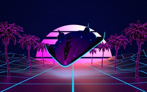 Картинка Музыка, Пальмы, Фон, Графика, Synth, Retrowave, Synthwave, New Retro Wave, Futuresynth, Синтвейв, Ретровейв, Outrun, Synthwaves ...