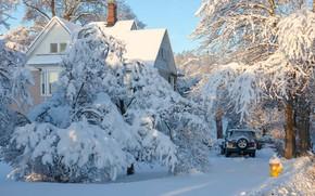 Картинка зима, снег, деревья, пейзаж, природа, дом, автомобиль, Антонина Яновска