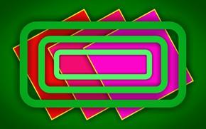 Картинка зеленый, фон, цветные, тени, фигуры