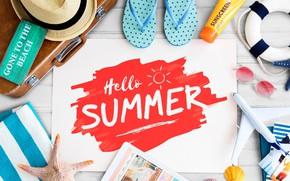 Обои лето, фото, надпись, шляпа, очки, чемодан, планшет, сланцы