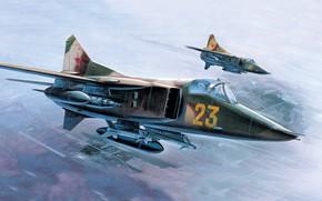 Картинка СССР, ВВС СССР, МиГ-27, Боевой самолёт, Сверхзвуковой Истребитель