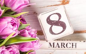 Картинка цветы, тюльпаны, розовые, 8 марта, pink, tulips, 8 march