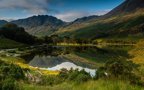 Картинка горы, природа, озеро, фото, Англия, кусты
