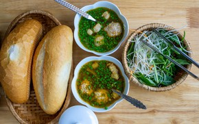 Картинка тарелка, хлеб, суп, салат